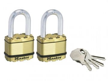 Excell Brass Finish 50mm Padlock 4-Pin - 38mm Shackle Keyed Alike x 2